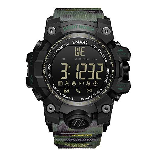 ZUKN Sport Smart Watch, IP68 Wasserdichte Kamera Nachrichtensynchronisation Gesundheitsüberwachung GPS Tracker Bluetooth-Uhr für Bergsteigen im Freien,Green