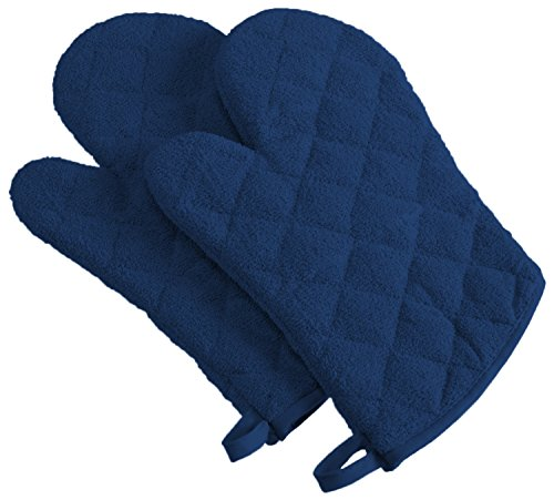 DII 100% Cotton Quilted Terry Oven Mitt Set, Ovenmitt, Nautical Blue 2 Count