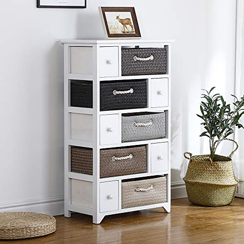 Ruication Bedside Table Storage Cabinets Wicker Woven Baskets Organiser Country Style Large Chest of Drawer Side Cupboard Unit Nightstand for Bedroom Living Room Bathroom Hallway (10 Drawers)