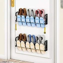 metal shoe racks on door