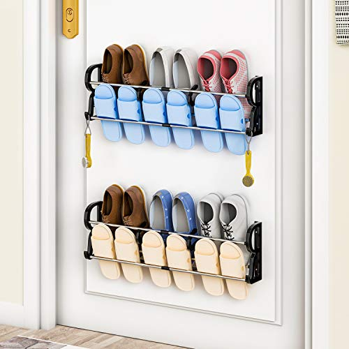 2-Pack Over the Door Shoe Rack IVKEY Wall Hanging Door Shoe Rack Organizer Adhesive Shoe Organizer Wall Mounted with S-shape Divider and Storage Hooks-No Drilling