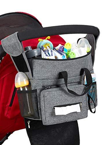 Kinderwagen Organizer, Universal Baby Kinderwagen Tasche mit Reißverschluss, Großer Stauraum Buggy Organizer für Spielzeug, Windeln, Trinkflaschen, Handys und andere Babysachen, Grau