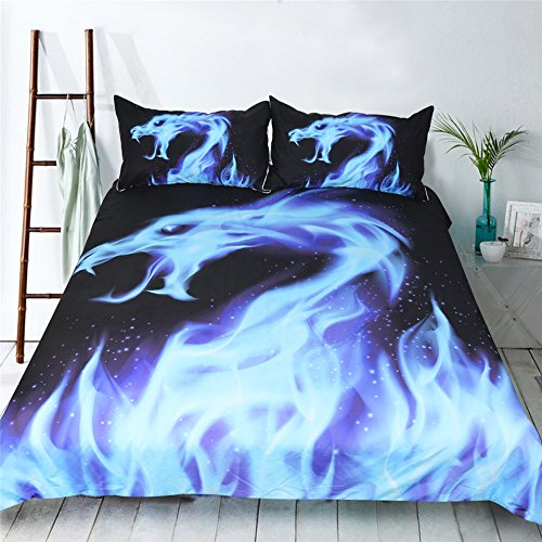 DAISANPANG Blue fire Dragon 3D Bedding Set Print Duvet Cover Set Lifelike Bed Sheet (1, Full)
