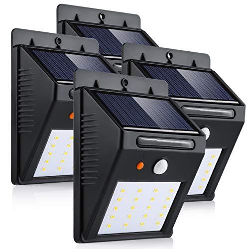Luz de Solar, Luces Solares LED de Pared, Blanco 6000K PIR Sensor ligero 20 LED solar impermeable Luz de para la pared al aire libre, jardín, cerca, patio, camino, yarda, escaleras, 4 pack.