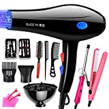 SUNBAOBAO Professional Hair Dryer, Female Hair Styling Set 3 in 1 Gift Set Curling Pliers and Flat Iron EU Plug Styling Tool Set 3000W, Black