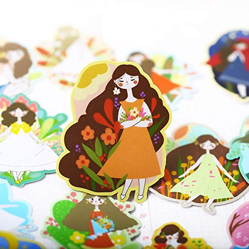 HENJIA Pegatinas de niña de Las Flores Manualidades y álbumes de Recortes Pegatinas Libro Etiqueta de Estudiante Pegatina Decorativa Juguetes para niños 20 Piezas