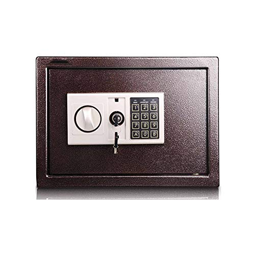 Small Safe Box - Digital Safe Steel Electronic Safe Deposit Box with Lock Keypad for Money Jewelry Security Cabinet for Home Business or Travel