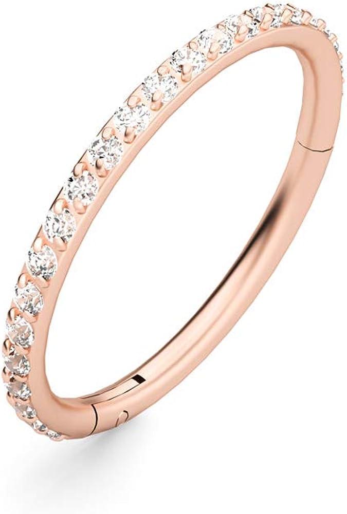 TOFAEVN 16G Stainless Steel Nose Ring Hoop Cubic Zirconia Cartilage Earrings Body Piercing Jewelry