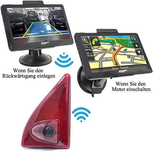Draadloze draadloze achteruitrijcamera (compatibiliteit Renault Master, Nissan NV400 & Opel Movano remlicht + monitor - tot 5 jaar garantie, achter achteraan achteruitkijkcamera