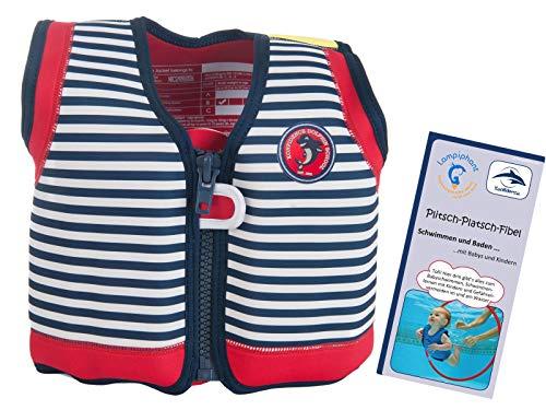Lampiphant Konfidence Kinder-Schwimmweste aus Neopren, Edition mit Plitsch-Platsch-Fibel, 1,5-3 Jahre, blau weiß gestreift