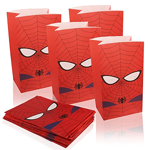 Yisscen Sacchetti Carta,24pcs Sacchetti per Regali Sacchetti di Carta Kraft Spiderman Sacchetti Caramelle Compleanno Bambini Borse di Carta,per Confezionare Caramelle, Biscotti, Snack,Cioccolato
