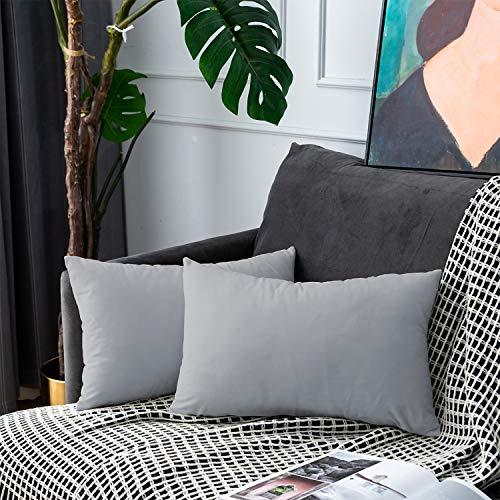 UPOPO Juego de 2 fundas de cojín de terciopelo, decorativas, monocolor, para sofá, dormitorio, salón, con cremallera, 30 x 50 cm, color gris claro