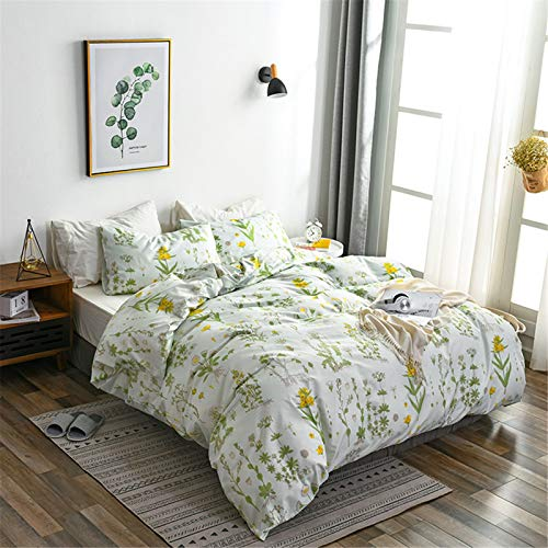 Argstar 3 Pcs Queen Floral Duvet Covers Set, Botanical Bedding Set, Yellow Flowers and Green Leaves Comforter Cover, Soft Lightweight Microfiber, for Men Women Boys and Girls