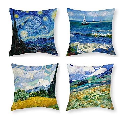 Hostecco Vincent Van Gogh-Kissenbezüge, Set mit 4 abstrakten Kunst-Design-Kissenbezügen, quadratisch, dekorative Kissenbezüge für berühmte Mal-Fans, 45,7 x 45,7 cm 18