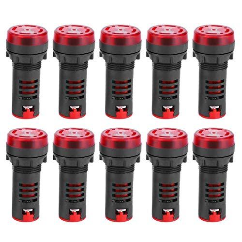 Zumbador LED BERM, 10 piezas Zumbador LED BERM AD16-22SM Lámpara indicadora de alarma intermitente roja con zumbador AC380V