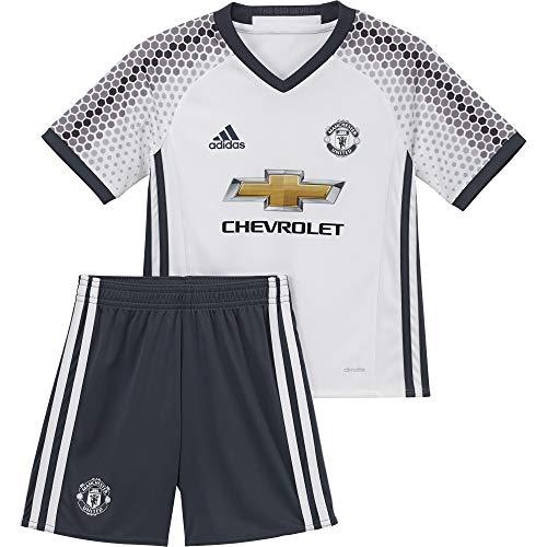 adidas MUFC 3 Mini - 3 Mannschaftsbekleidung Ensemble Manchester United 2015/16 - Unisex Kinder, Weiß/Blau, 98