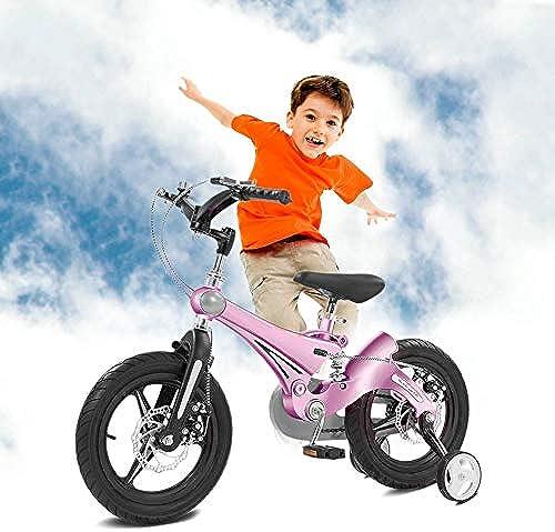 Q&J Magnesiumlegierung Kinderrad mit Stützr rn mit Stoßdämpferfeder,Rücktrittbremse + Vorderbremse, Abnehmbare Stützr r,Rosa,12zoll
