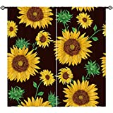 ANHOPE Sunflower Curtains, Oil Painting Art Theme Window Drapes with Yellow Flower Green Leaf Plant Print Pattern Rod Pocket Room Decor Curtains for Kitchen Bedroom Living Room, 2 Panels, 42 x 63 Inch