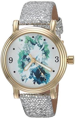 DISNEY Women's Princess Ariel Analog-Quartz Watch with Leather-Synthetic Strap, Silver, 17 (Model: WDS000177)