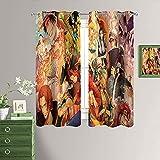 Cortinas opacas de una pieza, diseño de anime, abstractas, ultrasuaves y suaves, con aislamiento térmico, con ojales de 150 x 200 cm