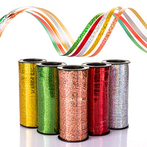 Naler 5 x Ringelband Geschenkband Glitzernde Polyband Deko Band für Ballonverschlüsse Geschenkverpackung Basteln