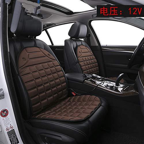 Verwarmd zitkussen, 12-V-schakelaar voor de stoelverwarming voor rugleuning en zitting, stoelverwarmer voor onmiddellijke verwarming van auto-, woon- en bureaustoelen. bruin