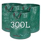 Kyrieval Gartensack 300L Laubsack Gartenabfallsäcke aus robustem PP-Gewebe 3 STK