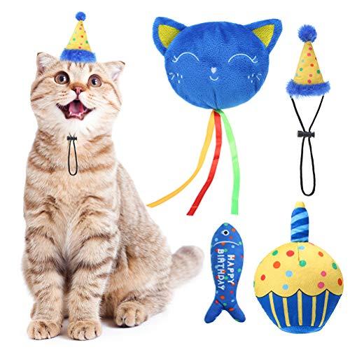 BINGPET Catnip Toys for Indoor Cats, Cat Birthday Hat and...