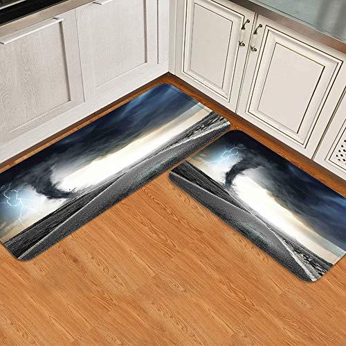 GugeABC Juegos de alfombras de Cocina 2pcs,Embudo de Tornado Negro Gas y truenos rodando,Alfombrilla Suave Lavable Antideslizante para baño de Entrada de Cocina