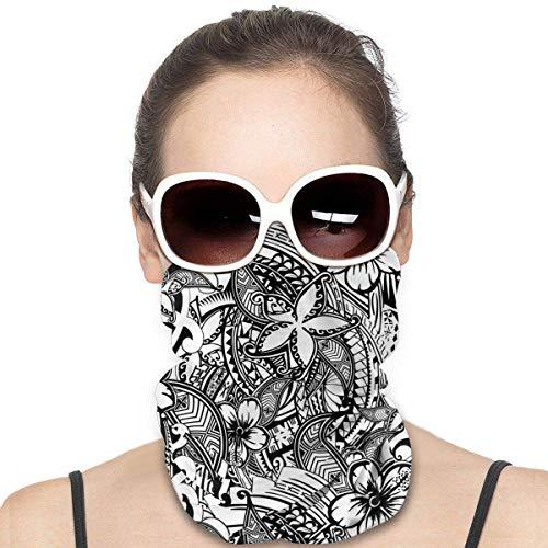 Hawaiian Polynesian Trbal Tatoo Gesichtsmaske Multifunktionstuch Damen Herren Elastische Halstuch Nahtlose Sturmhaube Sturmmaske Schlauchtuch für Yoga Laufen Wandern Radfahren Motorradfahren