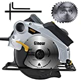Scie circulaire,1500W Ginour Guide Laser, 4700 RPM, Coupant: 67mm (90°), 46mm...