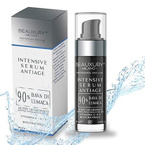 Beauxury Milano Ultra-Lifting-Serum - Vegane Antiaging-Gesichtscreme mit 90 % Bio-Schneckenschleim, Hyaluron, Resveratrol, Vitamin A, C & E - Feuchtigkeitscreme gegen Falten, Augenringe - 30 ml