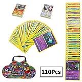 Pokemon Cartes - 110Pcs Pokemon Cartes. Les pages de carte sont en anglais, ce qui les motive également à apprendre l'anglais. Haute Qualité Matériel - Image colorée et claire. La carte est fabriquée à partir de papier de haute qualité, durable à uti...