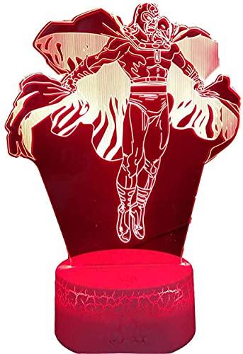 A-Generic LED luz Nocturna 3D Creativo 3D ilusión Ataque Titanes Regalo de cumpleaños para niños Hombre Amigos con Remoto 16 Colores cambiantes-Avengers Magneto
