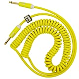 Coiled Guitar Cable Electric Instrument Cable 10 ft Curly Instrument Cable Coil Guitar Cable Stretchable Straight to Straight Dual Straight Plugs (Yellow)