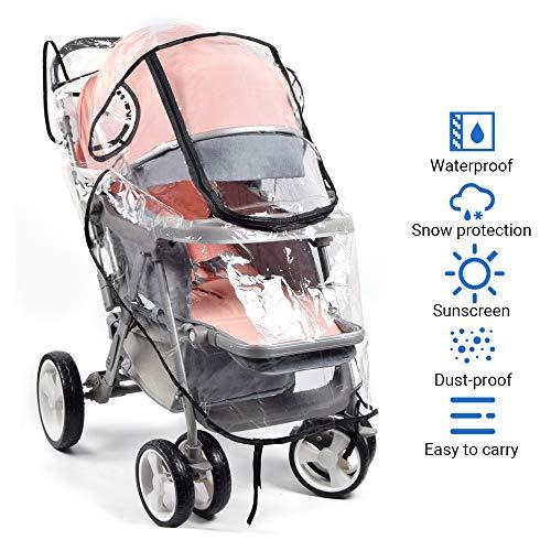 Universal Komfort Regenschutz für Kinderwagen und Buggy, gute Luftzirkulation, mit atmungsaktivem Mesh and durchsichtiges großes Fenster, PVC-frei