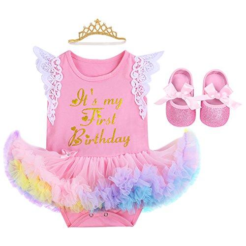 Fymnsi Baby-Outfit für Neugeborene, Mädchen, mit Spitze, Fliegenärmel, Prinzessinnen-Tutu, Regenbogen-Tüll-Strampler, Kleid + Krone, Stirnband + Schuhe, 3 Stück Gr. 6-12 Monate, Q~ Rosa