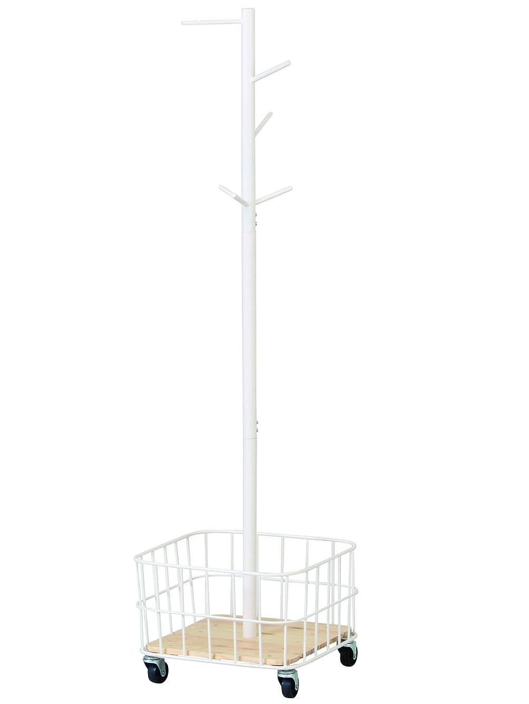 記念碑的なトラフィック海里マッシュ(Mash) ハンガーラック ホワイト 38x38x137.5cm キャスター付きポールハンガー