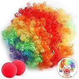 Payaso Peluca y 2x Nariz, para Adulto Niños años 80 Colores del Arco Iris Hippie Clown Cosplay...