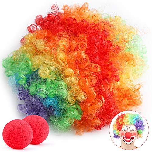 Parrucca da clown,Parrucca colorata da clown per adulti con 2x Naso da Clown