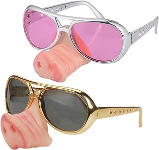 Toyvian 2 Piezas Gafas Divertidas Gafas de Nariz de Cerdo Suministros para Fiestas Accesorios de Disfraces (Dorado)