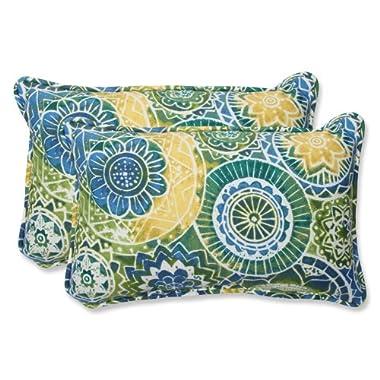 Pillow Perfect Outdoor Omnia Lagoon Rectangular Throw Pillow, Set of 2