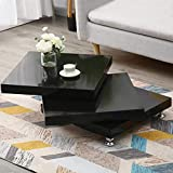 """3-Tier Rotating End Table, Modernesque Minimalist Rotating Coffee Table, High Gloss White Square Side Table for Living Room Home Office, 31.5"""" x 31.5"""" x 11.8"""" (Black)"""
