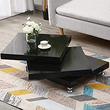 3-Tier Rotating End Table Modernesque Minimalist Rotating Coffee Table High Gloss White Square Side Table for Living Room Home Office 31.5  x 31.5  x 11.8   Black