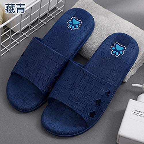 Cxypeng Bañarse Sandalias,Sandalias y Pantuflas de Verano para Hombre, Zapatos Antideslizantes con Plataforma de baño de Fondo Suave-Azul Marino_39-40,Interior al Aire Libre Verano Zapatillas
