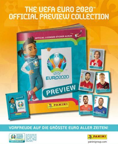 Euro 2020 Panini Sticker Preview - Sammelsticker -komplett Set alle 568 Sticker + Leeralbum zusätzlich 1 x Sticker-und-co-de Bonbon
