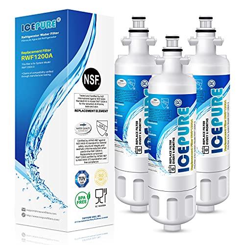 ICEPURE ADQ36006101 9690 Water Filter Replacement for LG LT700P, Kenmore Elite 46-9690 ADQ36006102, RWF1200A, CLCH106, RWF1052 LFX28968ST LFXS29626S LFXS30766S LFX31925ST LFX31945ST Refrigerator,3PACK
