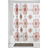 mDesign Decorative Paisley Damask Print - Easy Care Fabric Shower Curtain with Reinforced Buttonholes, for Bathroom Showers, Stalls and Bathtubs, Machine Washable - 72' x 72' - Coral/Taupe