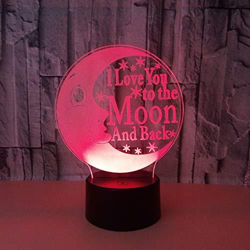 3D nachtlampje cartoon maanogen 7 kleuren afstandsbediening touch slaapkamer lamp hoofddecoratie, kinderkerstcadeau