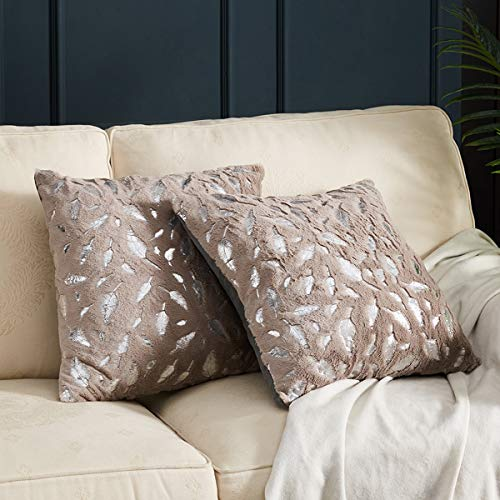 Gigizaza Plush Fluffy Cushion Covers 45cm x 45cm Silver Leaf Faux Fur Decorative Throw Pillow Covers for Sofa Couch Living Room 18x18 Inch Brown Set of 2